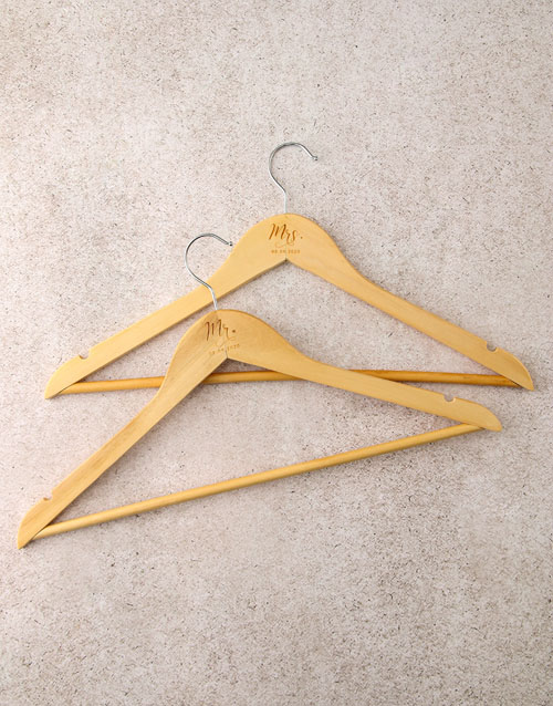 personalised: Personalised Mr And Mrs Hanger Set!