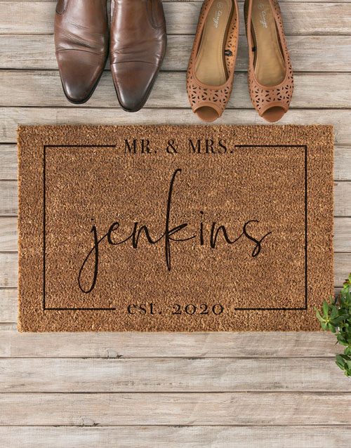 anniversary: Personalised Mr And Mrs Est Doormat !