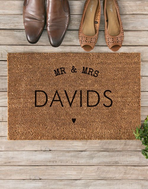 anniversary: Personalised Mr And Mrs Heart Doormat!