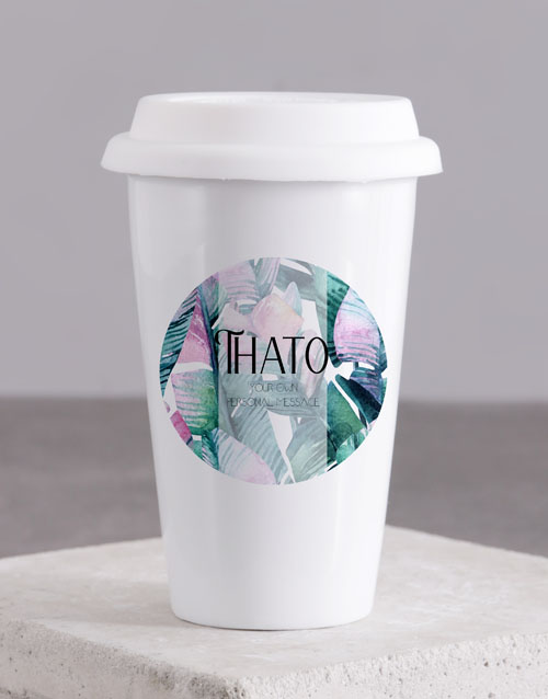 homeware: Personalised Leaves Travel Mug!