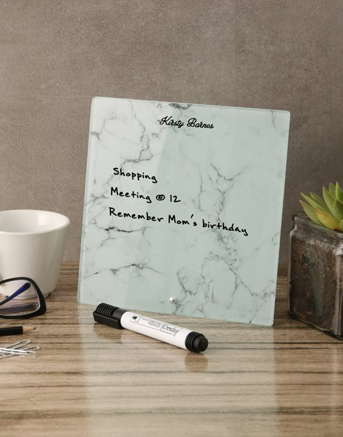 personalised: Marble Glass Reminder Whiteboard!