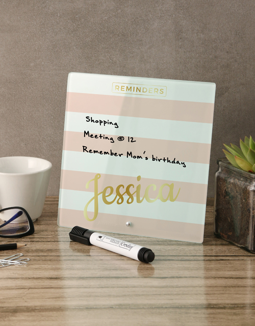 personalised: Striped Pink Glass Reminder Whiteboard!