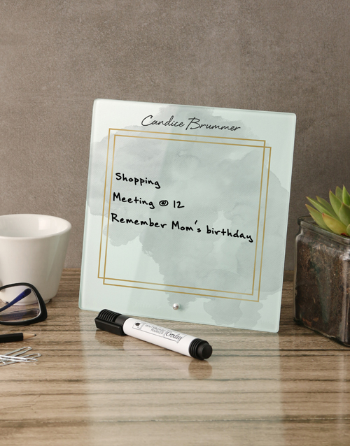 personalised: Watercolour Glass Reminder Whiteboard!