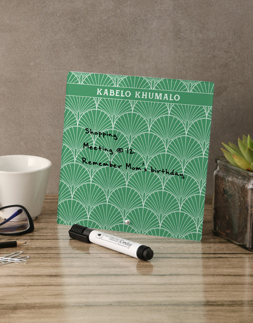personalised: Green Glass Reminder Whiteboard!