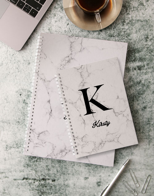 bosses-day: Personalised Modern Marble Notebook!