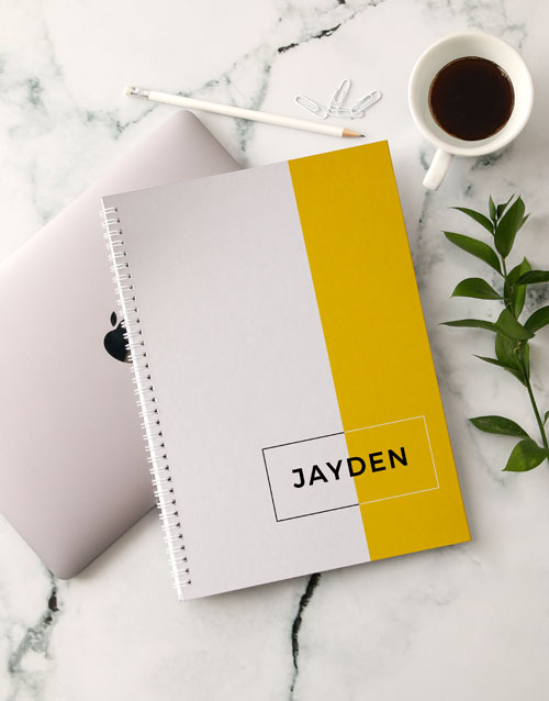 bosses-day: Personalised Modern Yellow Notebook!