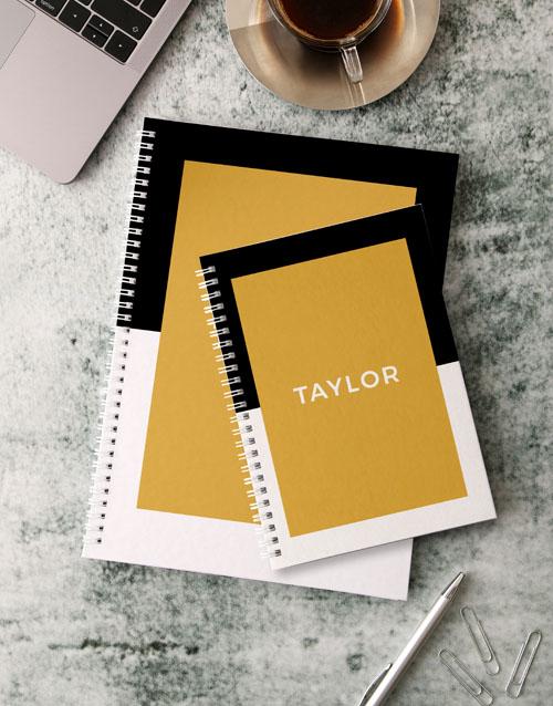 bosses-day: Personalised Modern Black Notebook!