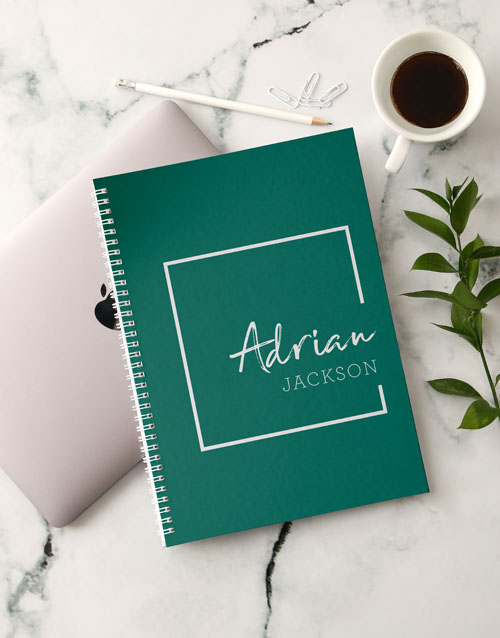 bosses-day: Personalised Trendy Green Notebook!