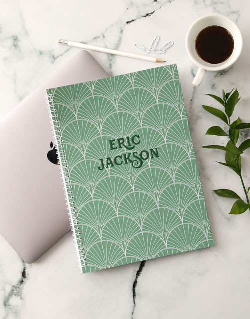 christmas: Personalised Green Deco Notebook!