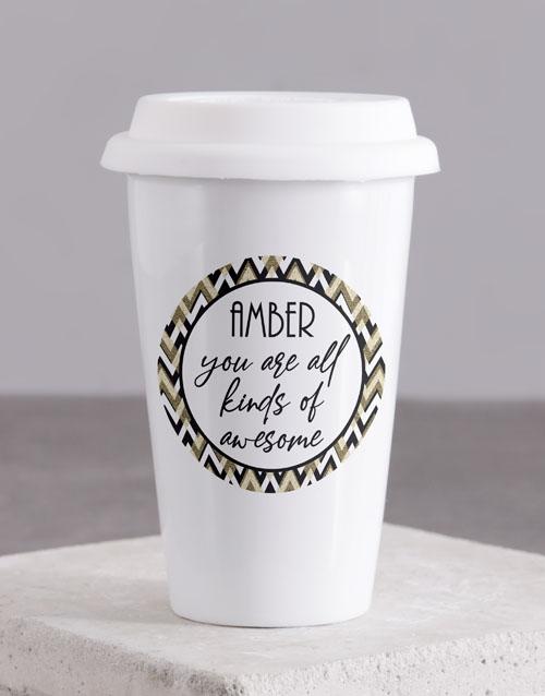 homeware: Personalised You Are Awesome Ceramic Travel Mug!