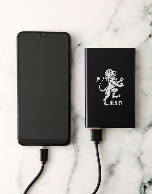 personalised: Personalised Lionheart Black Powerbank!