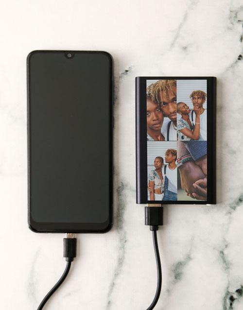 christmas: Personalised Four Photo Black Powerbank!