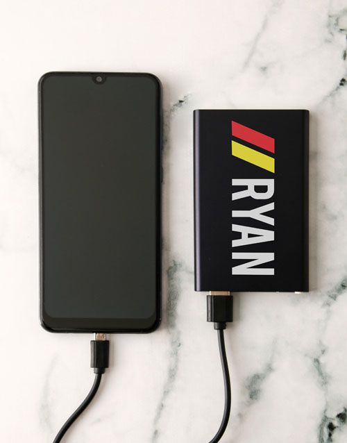 fathers-day: Personalised Name Black Powerbank!