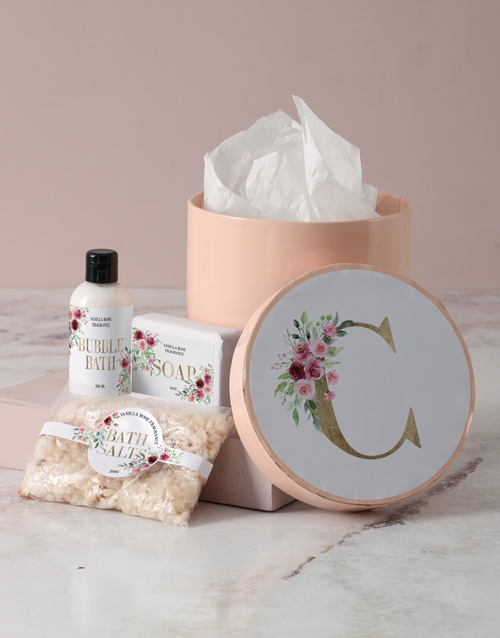 bosses-day: Personalised Floral Initial Pamper Hatbox!