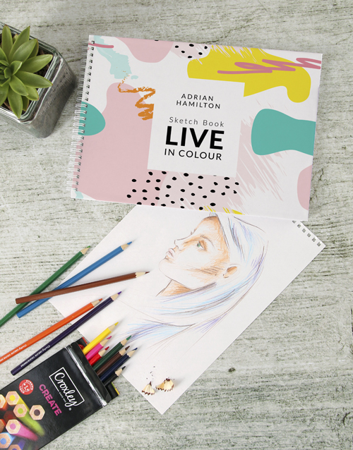 personalised: Personalised Live In Colour Sketch Book !