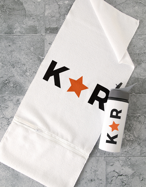 christmas: Personalised Star Initial Gym Towel Set!