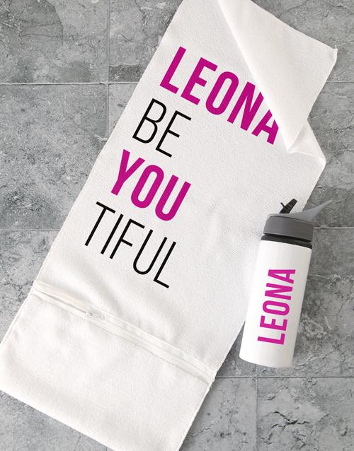personalised: Personalised BeYouTiful Gym Towel Set!
