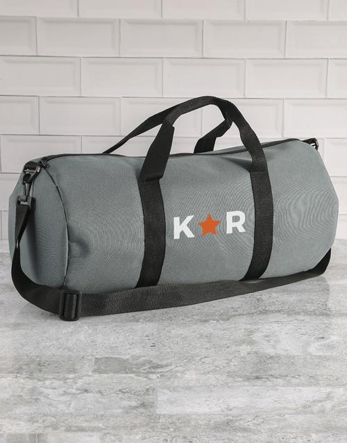 personalised: Personalised Star Initials Grey Gym Duffel Bag!