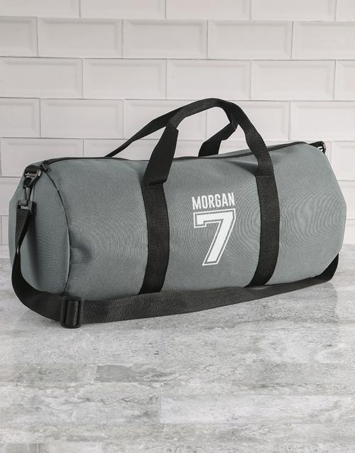 personalised: Personalised Team Player Grey Gym Duffel Bag!