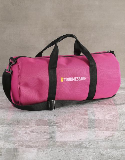 personalised: Personalised Message Pink Gym Duffel Bag!