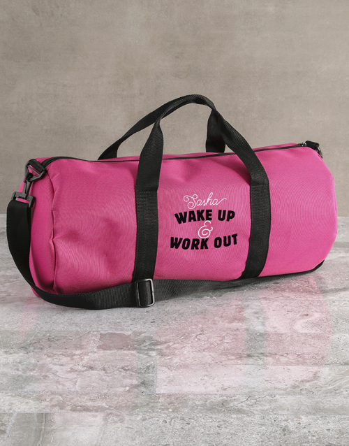 personalised: Personalised Wake Up Work Out Pink Gym Duffel Bag!