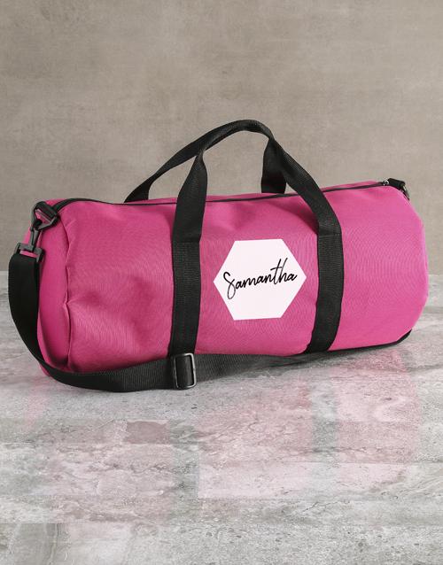 personalised: Personalised Hexagonal Pink Gym Duffel Bag!