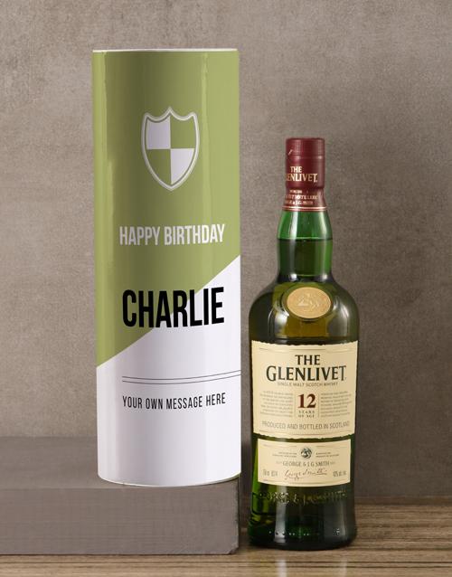 christmas: Personalised Glenlivet Whisky Modern Tube!