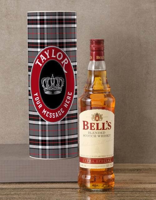 christmas: Personalised Bells Whisky Tartan Tube!