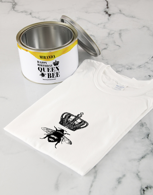 birthday: Personalised Queen Bee T Shirt Tin!