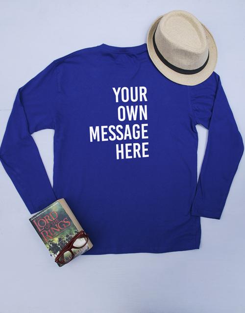 clothing: Personalised Blue Mens Long Sleeve Shirt!