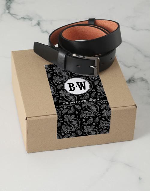 apparel: Personalised Black Paisley Belt Box!