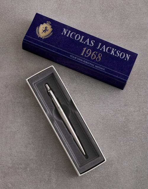 christmas: Personalised Blue Crest Parker Pen Gift Set!