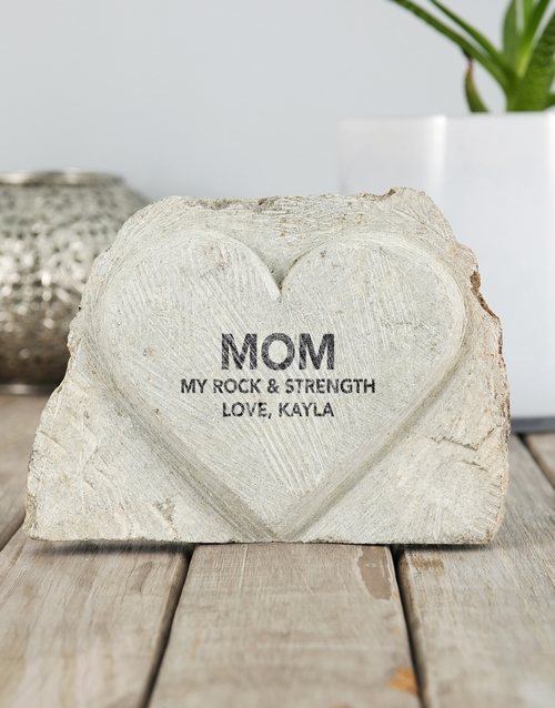 house-warming: Personalised Rock And Strength Stone Heart!