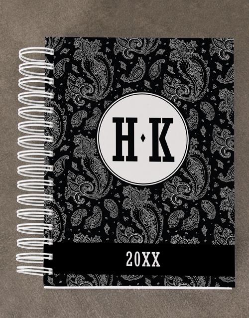 stationery: Personalised Black Paisley Diary Set!