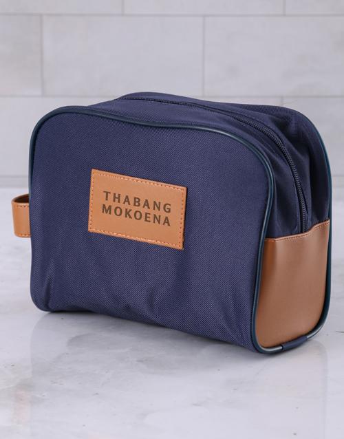 personalised: Personalised Mens Navy Blue Wash Bag !
