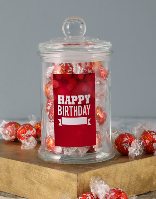 candy-jars: Personalised Red Birthday Lindt Candy Jar!
