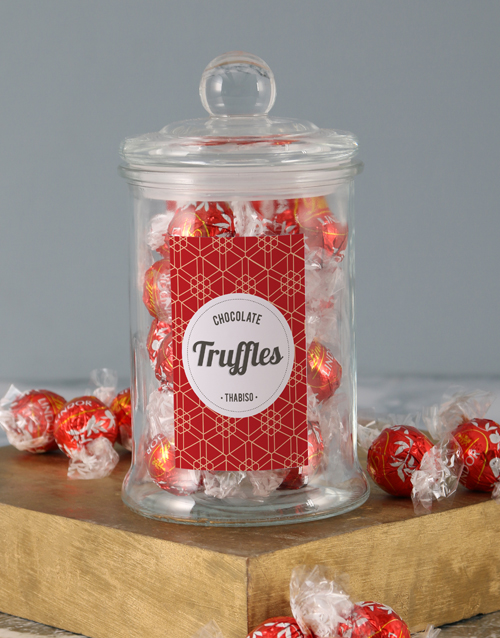 candy-jars: Personalised Red Pattern Lindt Candy Jar!