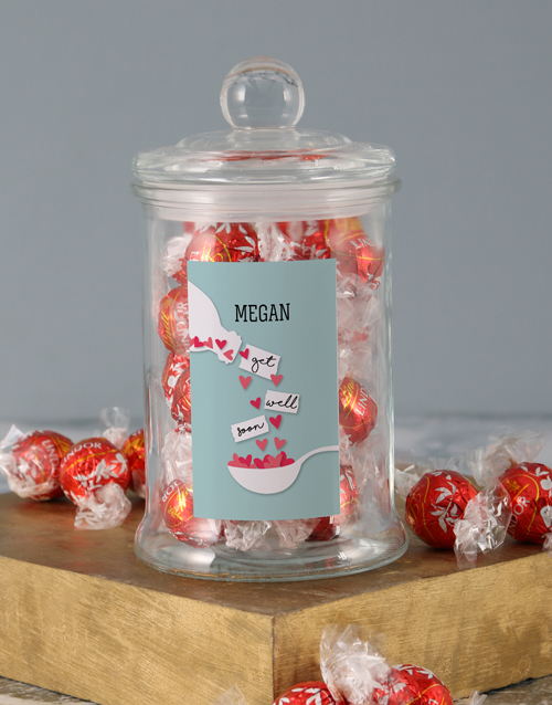 candy-jars: Personalised Get Well Hearts Lindt Candy Jar!