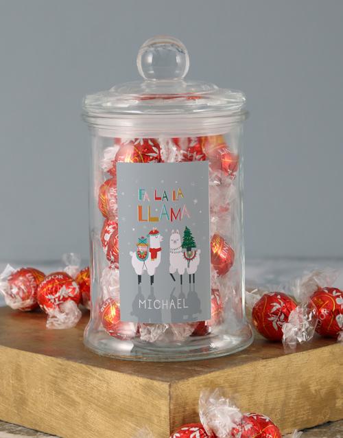 candy-jars: Personalised Fa La La Llama Lindt Candy Jar!