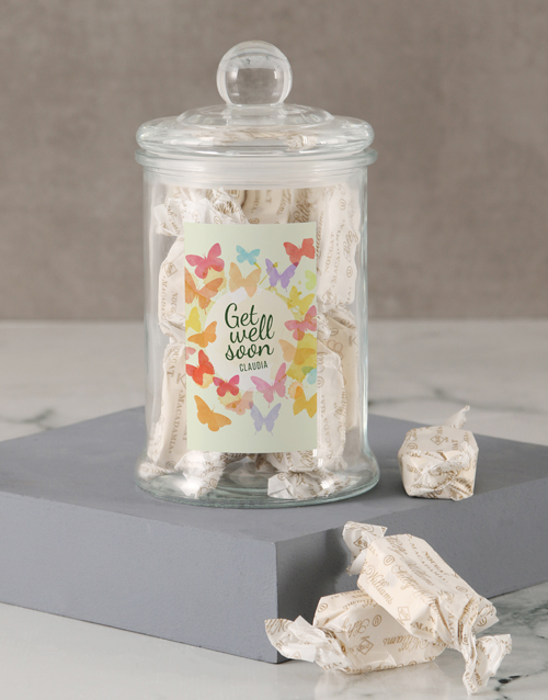 candy-jars: Personalised Get Well Butterfly Nougat Candy Jar!