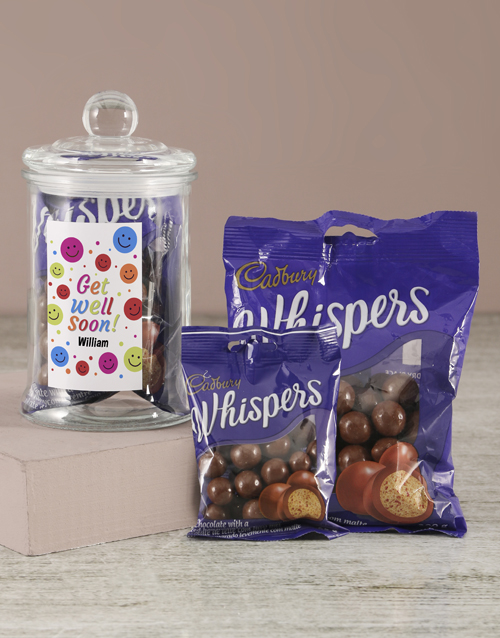 candy-jars: Personalised Get Well Soon Whispers Candy Jar!