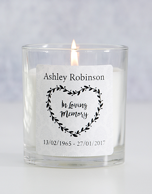bath-and-body: Personalised In Loving Memory Heart Wreath Candle!