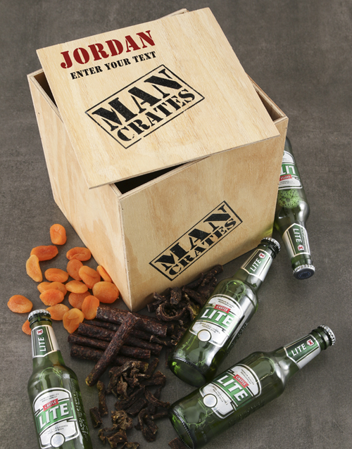 fine-alcohol: Personalised Drink and Snack Man Crate!