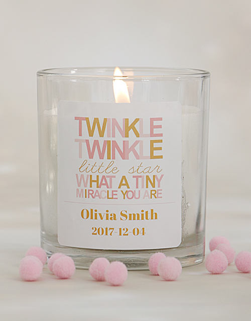 bath-and-body: Personalised Twinkle Twinkle Baby Girl Candle!