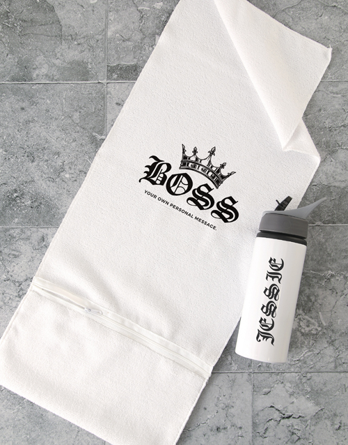 clothing: Personalised Royal Boss Gym Towel and Bottle!