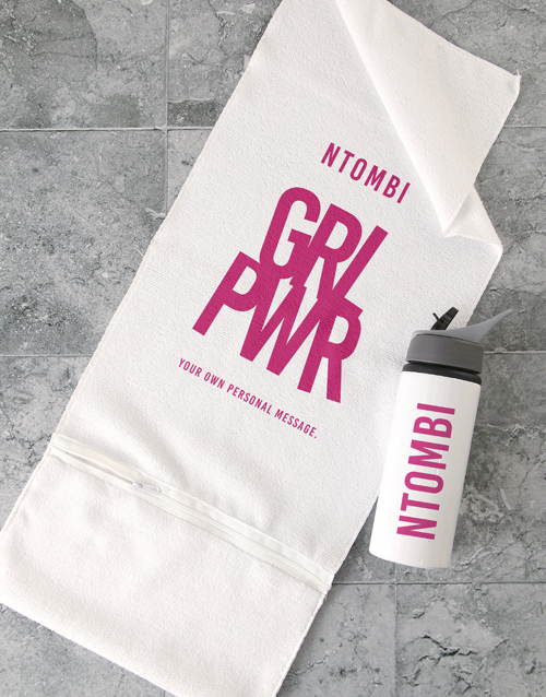 clothing: Personalised Girl Power Gym Towel and Bottle!