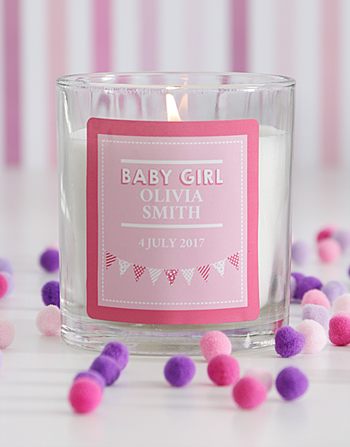baby: Personalised Baby Girl Candle!