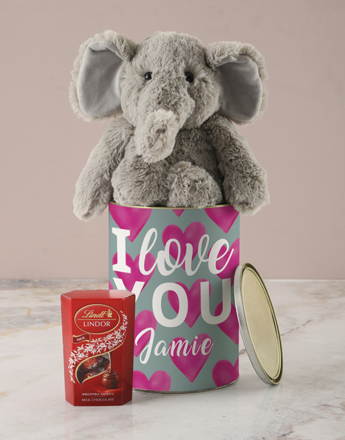 chocolate: Personalised Love You Bucket with Elephant Toy!