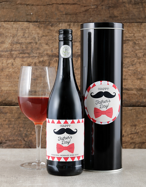 fathers-day: Personalised Mustache Fathers Day Wine Tin!