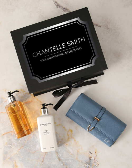 anniversary: Personalised Blue Purse And Charlotte Rhys Hamper!